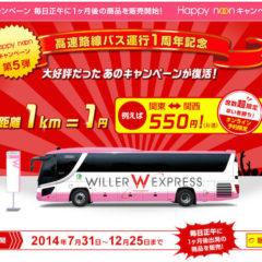 1km1円!高速バス「WILLER EXPRESS(ウィラーエクスプレス)」が激安キャンペーン中