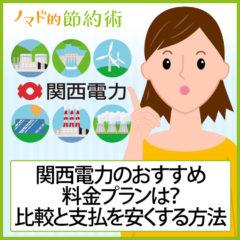 関西電力の電気料金プランはどれがおすすめ?料金プラン一覧での比較と支払を安くする方法のまとめ