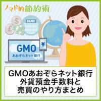 GMOあおぞらネット銀行の外貨預金手数料と売買のやり方まとめ
